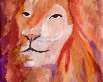 The Lion Original Watercolor Painting - Kimberly Turnbull Art 2013