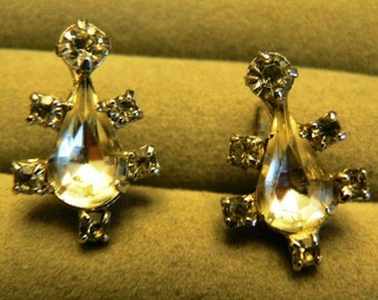vintage jewels ...  Stunning SILVER glass TEARDROP and diamond PASTE stones screw back Earrings ...