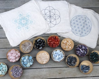 CRYSTAL GRID CLOTHS --- set of 3 -- 100% cotton, all natural, sacred geometry, grid templates