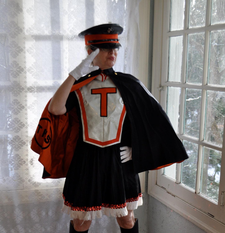 Marching Band Uniform. Vintage 1950s. Cape Vest Skirt Cap.