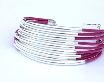 Statement bracelet - Silver plated tube cuff