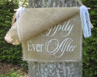 Here Comes The Bride, Happily Ever After, Burlap Wedding, Rustic Wedding, 2 Layer Banner, Rustic Wedding Decor, Rustic Wedding Sign