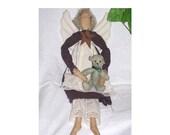 Primitive ANGEL DOLL with Rusty Star and Teddy Bear Prim Wall hanging Sitting Eggplant Soft stuffed  OOAK