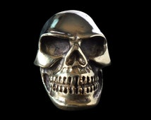Solid Bronze Knuckle Paver Skull Ring - Free Re-Size/Shipping
