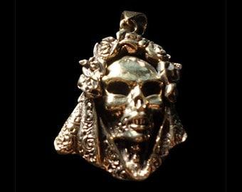 Solid Bronze Santa Muerte Saint of the Dead  Mexico Pendant - Free Shipping