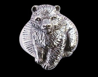 Stainless Steel Junior Bear Cub Biker Ring - Free Re-Size/Shipping