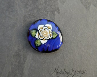Cream Tattoo Style Rose on Deep Blue, Lampwork Focal Bead