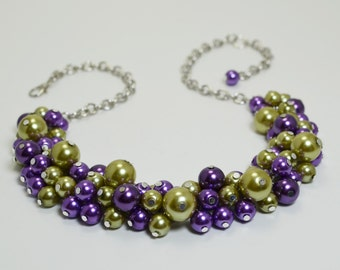 Pearl Necklace, Purple and Olive Pearl Necklace, Pearl Cluster Necklace, Purple Chunky Necklace, Chunky Necklace, Purple and Green Combo