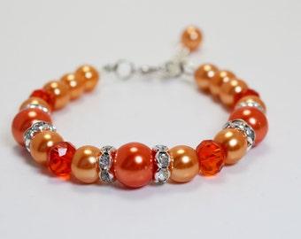 Orange Pearl Bracelet and Earring set, Pearl Bridal Jewelry, Orange Beaded Bracelet, Bold Bracelet, Bridesmaids Gift, Orange Bridal Jewelry