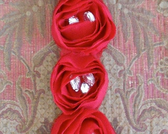 Red Rosette Stone Appliques