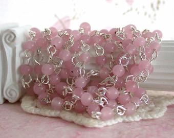Rosary Chain, Pink Opal Chain Bead Chain, Chain, Bead Chain, Jewelry Chain, Glass Bead Chain CHN-053