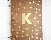 Stained wedding guest book with metallic polka dots and monogram