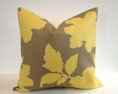 "Designer Pillow Cover, Decorative, Throw. 18""x18"" inch- Canary  Peony"