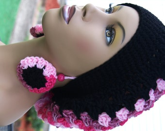 Crochet Tam with Matching Earrings -Black and Pink