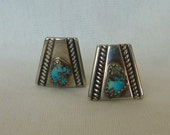 Turquoise Vintage Sterling Silver Earrings Indian Southwestern  Style