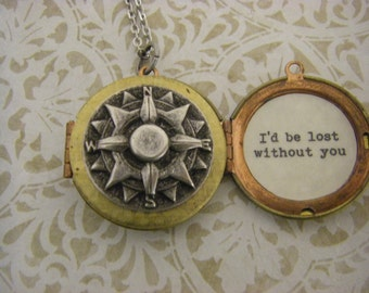 Compass Locket Necklace, I'd Be Lost Without You, Mixed Metals, wife, fiance, groom to bride gift