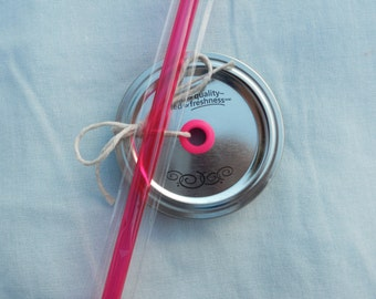 Mason Jar Drink Lid and Straw - Pink Grommet and Matching Straw - Create your own Mason Jar Tumbler