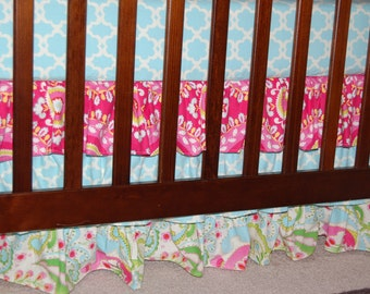 "Three Tier Crib Skirt - Gathered - Four Sides -  Kumari Garden - Choose Your Own Fabrics - Up To 19"" Drop - MADE TO ORDER"
