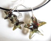 Earrings and Necklace set Starfish Swarovski and Sterling Silver