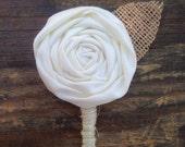 Custom Listing (Tanya W) 3 Fabric Flower Boutonniere With A Burlap Leaf