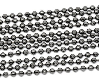 Gunmetal Ball Chains - Smooth - 3.2mm Dia. - 10M = 32 Feet - Ships IMMEDIATELY from California - CH313