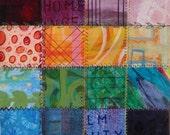 Rainbow Patchwork - Fine Art Giclee Print  of my Original Painting 12x12