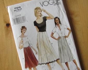 Uncut Vogue Sewing Pattern p916 - Misses Skirt  - Size 12-16