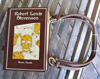 Robert Louis Stevenson - Seven Novels - Treasure Island -  Leather Book Purse - Made to Order