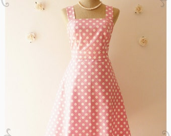 Sweet Pink Sundress Vintage Inspired Dress Vintage Style Bridesmaid Dress Party Polka Dot Retro Dress Summer Dress-Size XS,S,M,L,XL,CUSTOM