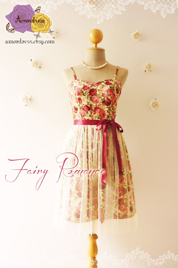 Fairy Romance Vintage Inspired Party Dress Rose By Amordress