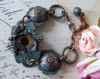 Aqua Green Copper Brass Etched Bracelet, Eye & Dragonfly