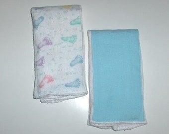 Baby's Burp Cloth - Footprints - Set of 2