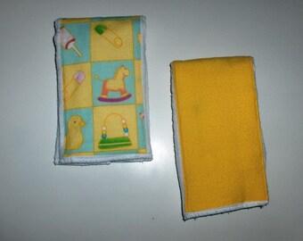SALE - Baby's Burp Cloth - Blocks - Set of 2