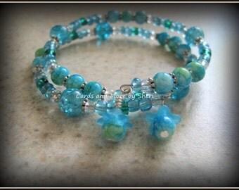 Turquoise Sugarplum Fairy Memory Wire Bracelet