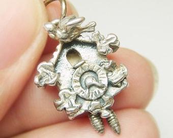 Vtg Beau Sterling Silver Black Forest Cuckoo Clock 3D Bracelet Charm Moves
