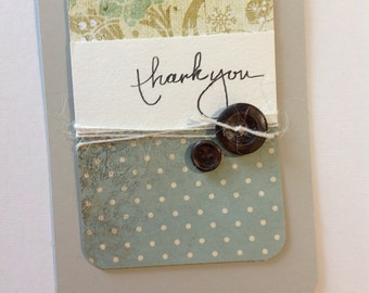 Card - Thank You - Vintage buttons