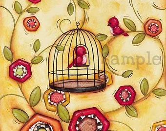 Bird Cage Wall Art ~ Childrens Wall Art ~ Bird Decor ~ Bird Cage ~ Home Wall Art ~ Home Decor ~ Foyer Family Room ~ Bird Flowers ~ Print