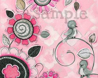 Pink and Gray Wall Art ~ Bird Wall Art ~ Bird Decor ~ Girls Nursery ~ Painted Wall Art Print ~ Girls Bedroom Art Decor ~ Print