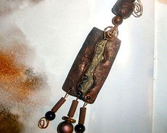 XL polymer pendant copper & antique gold wire wrapped
