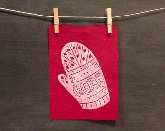 Lost Mitten - Hand Printed - Linocut