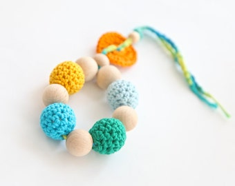 Teething toy with crochet wooden beads. Baby wooden teether