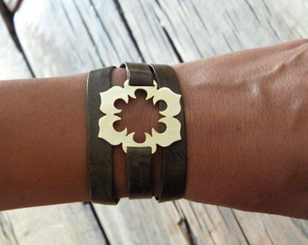 Wrap bracelet Gold flower bracelet brown wrap bracelet gold brown bracelet