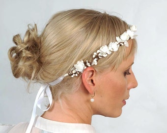 Wedding Flower Halo, Boho Criown, Wedding Headpiece, White Flower Crown, Woodland Flower Circlet, Bridal Hair Accessory, Rustic Hair Piece