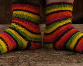 Made To Order: Hand Dyed Self Striping Fingering/Sock Yarn, 75/25 Super wash Merino/Nylon, Sugar Skulls