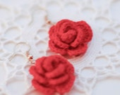 Ruusu flower earrings with gold plated hooks