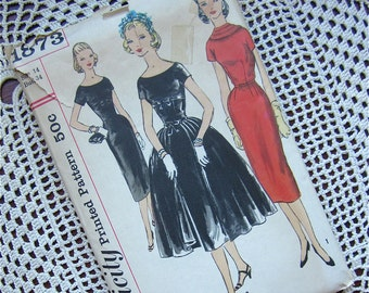 Vintage 50s, 60s Wiggle Dress with Overskirt Sewing Pattern, Simplicity, 1873