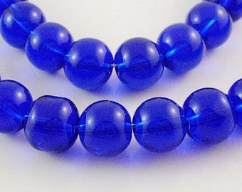 4mm blue round glass beads - full strand (approx. 80 pieces) (1144)