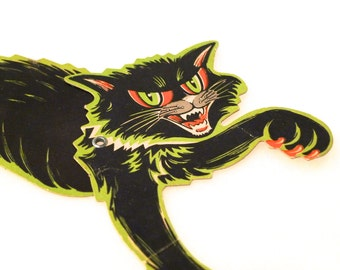 Black Cat Beistle Vintage Halloween Decoration Pittsburgh Articulated 1940's Paper Sharp Claws Raised Fur Tail Scary Hissing Cat Moves