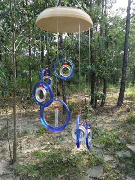 Glass Wind Chimes from RECYCLED bottles, eco friendly ,blue clear, wind chime, garden decor, wind chimes,   musical, home decor, mobile