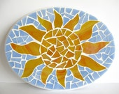 Sun wall decor, beach house decor, mosaic art, bohemian decor 8x6""